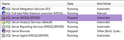 Stop - SQL Services