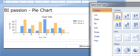 Select chart into report