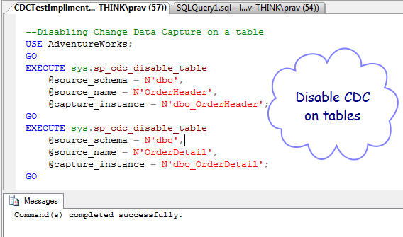 CDC - Disable @table